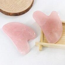 Натуральный розовый кварц Gua Sha доска розовый нефрит камень для тела лицевой глаз соскабливание пластины акупунктурный массаж Релаксация забота о здоровье