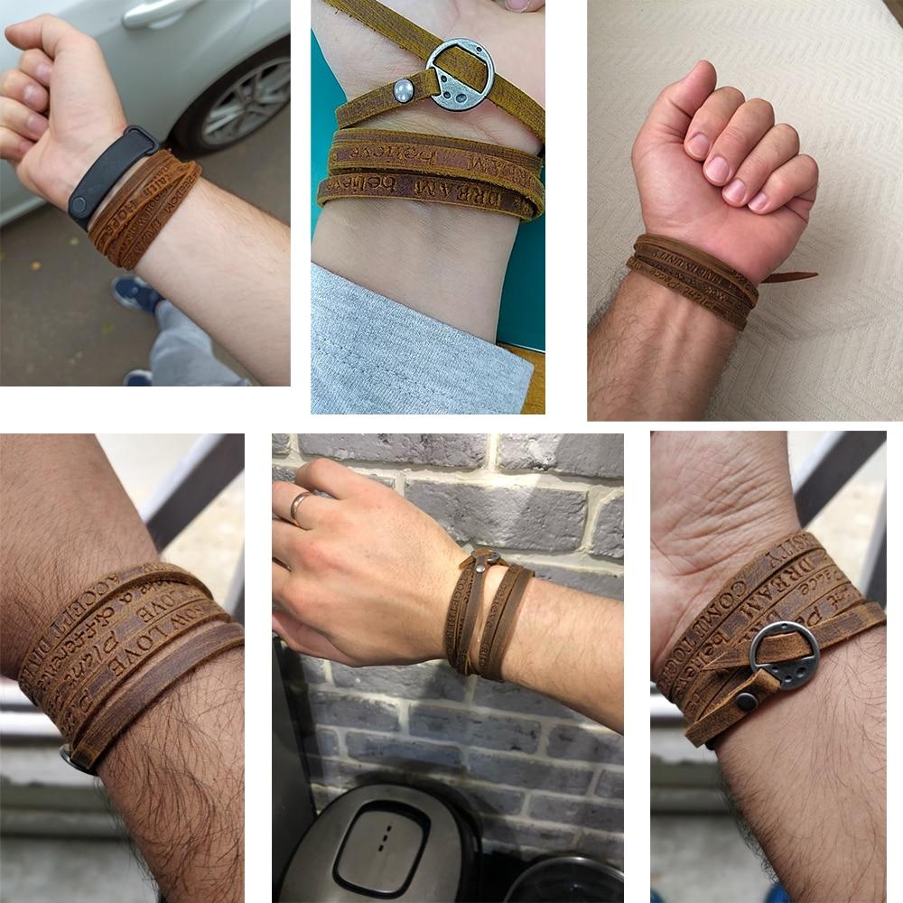 Kirykle-bracelet en cuir véritable, bijoux, style bohémien, multicouches, gaufrage de lettres, pour hommes et femmes 6