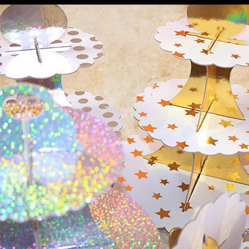 3-שכבה Cupcake Stand עגול קרטון Cupcake מחזיק מתקפל תינוק מקלחות יום הולדת מסיבת חתונת דקור קינוח שולחן ספקי