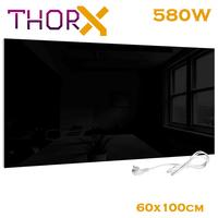ThorX A580 B Infrared heater panel 580 Watt 60x100 cm black glass carbon crystal technology