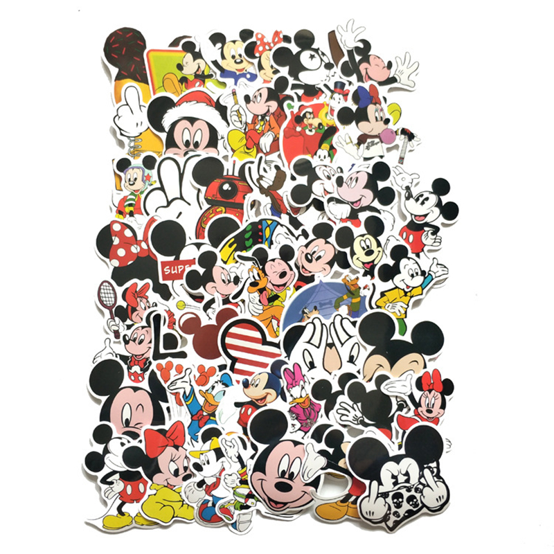 TD ZW 50Pcs Cartoon Mickey Mouse Stickers Waterproof Decal Laptop Motorcycle Luggage Snowboard Fridge Phone Car Sticker