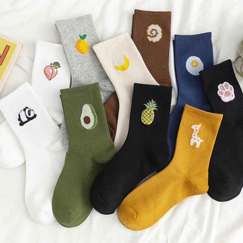 Hot Sale Funny Socks Women Casual Cartoon Fruit Embroidered AVocado Bunching Sock Happy Japanese-Style Harajuku Skateboard Socks