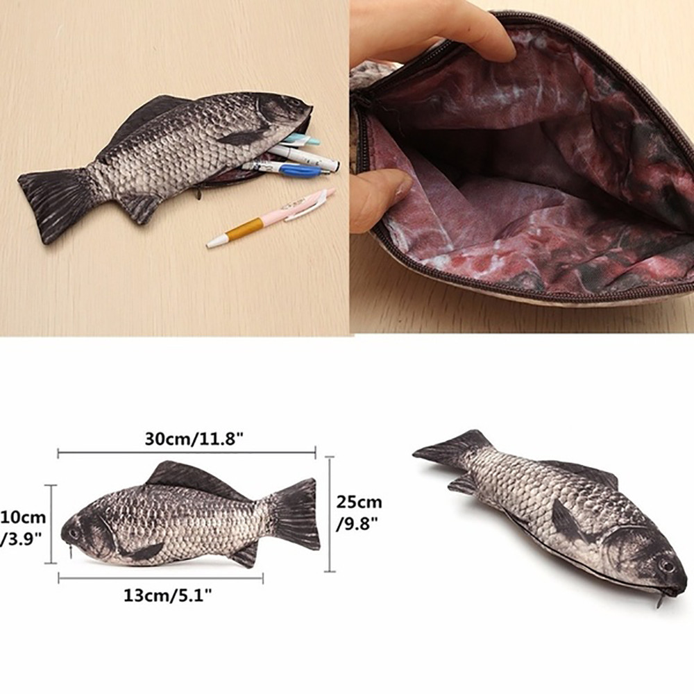 Carp Pen Bag Realistic Fish Shape Make-up Pouch Pen Pencil Case With Zipper High Quality PU Leathe Home Storage Accessories#25