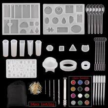 Ensemble de moules de moulage en Silicone époxy liquide, ensemble de moules de moulage en résine UV de Style mixte, Kits de fabrication de bijoux, fournitures d'art d'artisanat
