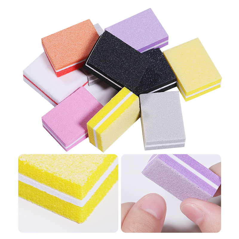 Colorful Mini Nail Buffers Sanding Sponge Files Grinding Polishing Nail File Buffer Nail Art Tool Random Color
