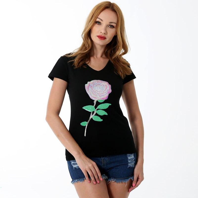 T shirts für frauen tops plus größe aus, die schwarz crop tops lustige print kurzarm t shirt - 3