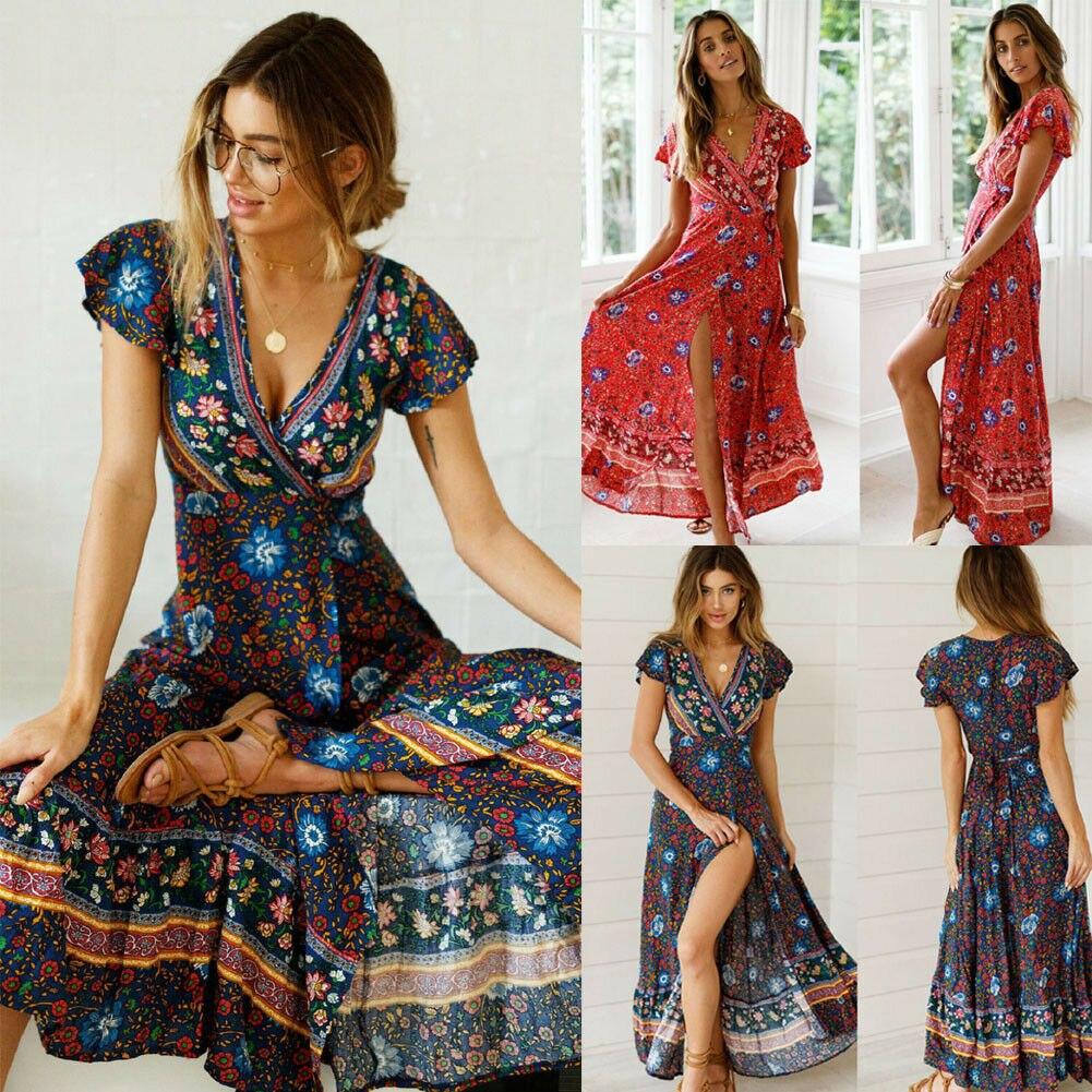 Vintage Boho Floral Dress Women 2019 Summer Clothes Short Sleeve Maxi Long Split Dress New Fashion Casual Dress Women Clothes