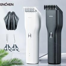الرجال الكهربائية الشعر المتقلب المقص المهنية أداة تهذيب اللحية اللاسلكي USB قابلة للشحن آلة قطع الشعر ل ENCHENآلة تهذيب الشعر