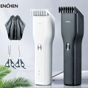 Image 1 - Mannen Elektrische Tondeuse Clipper Professionele Baard Trimmer Draadloze Usb Oplaadbare Haar Snijmachine Voor Enchen
