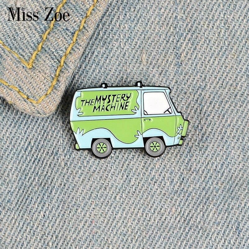 Эмалированные булавки в виде машины, персонажи мультфильма Скуби автобус, броши на лацкане, значок для рубашки, сумки, Забавный значок, ювелирное изделие для старой школы, подарок друзьям