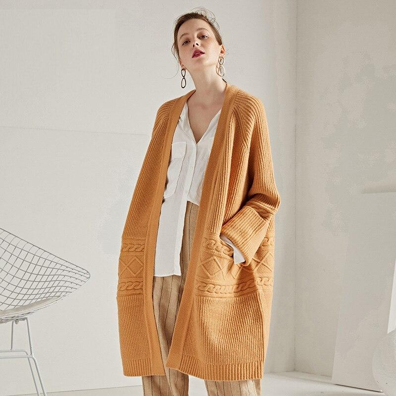 Long Light Grey Cardigan Sweater Women Korean Style Pull Fem Me 2019 Autumn Winter Knitwear Plus Sized Loose Casual Overcoat
