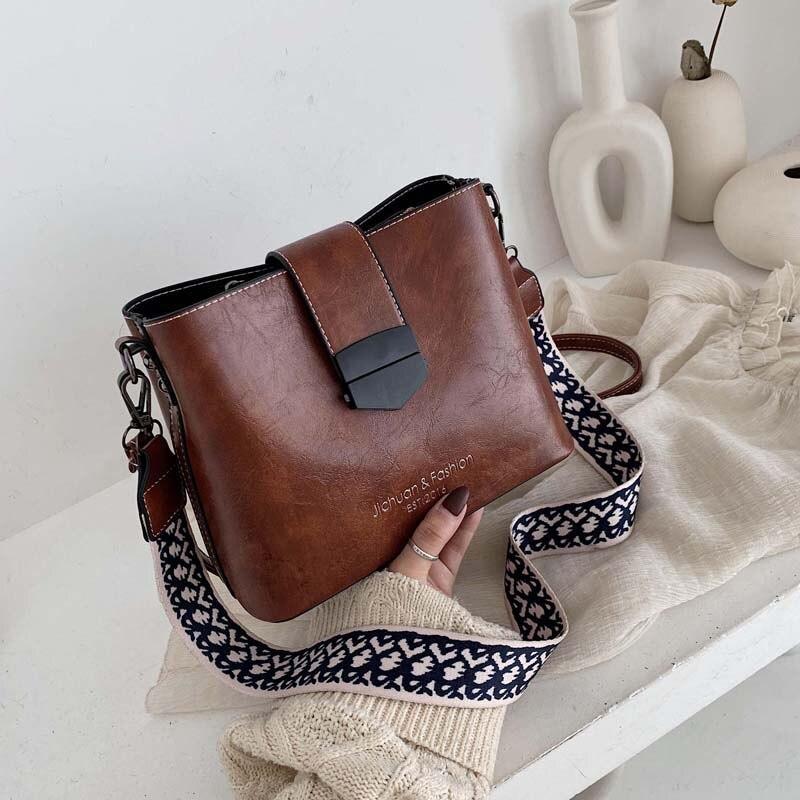 2020 Hot Sale New Women PU Leather Handbags Fashion Designer Black Bucket Vintage Shoulder Bags Messenger Bag High Quality