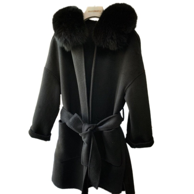 Brand famous Real Cashmere wool Coat With natural Fox Fur Trim Hoodie  ladies real fur Coats Outwear 5