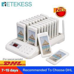 RETEKESS TD172 restaurante buscapersonas sistema de llamadas inalámbrico 20 Coaster buscapersonas Sistema de cola para restaurante Iglesia guardería clínica
