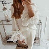 Летние кружевные рубашки для женщин, модные белые блузки, 2020, сексуальные топы с длинными расклешенными рукавами и оборками, повседневные с...
