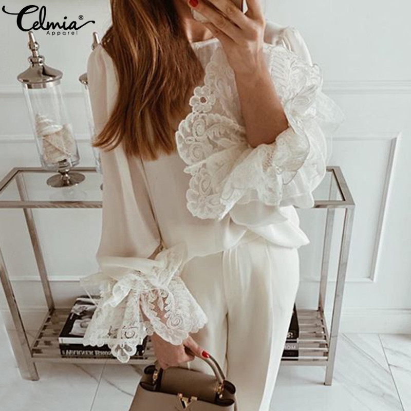 Lace Shirts Women Fashion White Blouses Celmia 2019 Autumn Sexy Long Flare Sleeve Ruffles Tops Casual Loose Blusas Mujer S-5XL