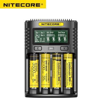 Nitecore UM4 USB z czterema gniazdami kontroli jakości ładowarka inteligentny układ globalny ubezpieczenia li-ion AA 16340 18650 14500 21700 26650 ładowarka tanie i dobre opinie