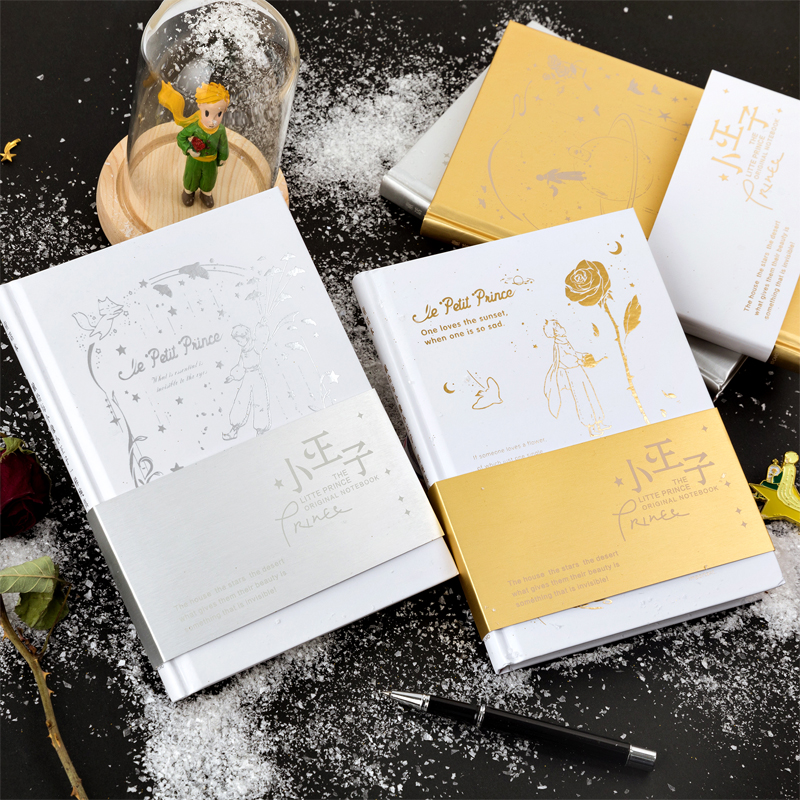 Little Prince Blank Sketchbook Diary Drawing Painting Cute Gold Silver Rose Fox Notebook Paper Sketch Book School Supplies