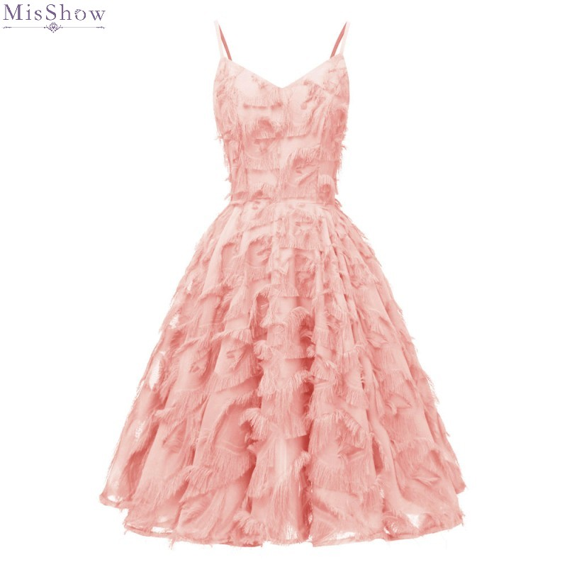 Cocktail Dresses 2019 Elegant Pink Short Formal Party Gown 2020 Sexy V Neck Sleeveless robe coctail