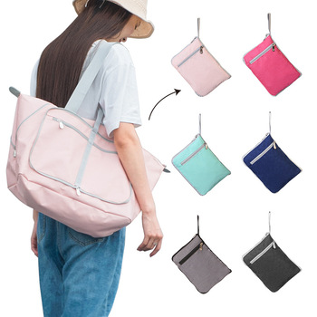 New Foldable Tote Bag Shoulder Bag Luggage Bag Travel Portable Tote Bag Outdoor Shoulder Bag Folding Travel Bag tropical leaves tote bag