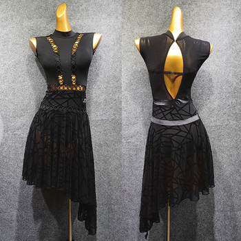 Latin Dance Dress Lady Black Sleeveless Sexy Backless Women Practice Clothes Rumba Cha Cha Samba Tango Performance Wear DN5542