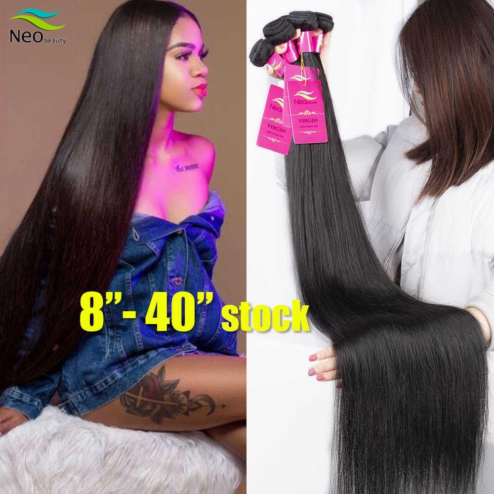 """8 """"-28"""" 30 32 34 36 38 40 inç 1/3/4 düz saç demetleri mevcut 10A insan saçı düz bakire brezilyalı saç örgü demetleri"""