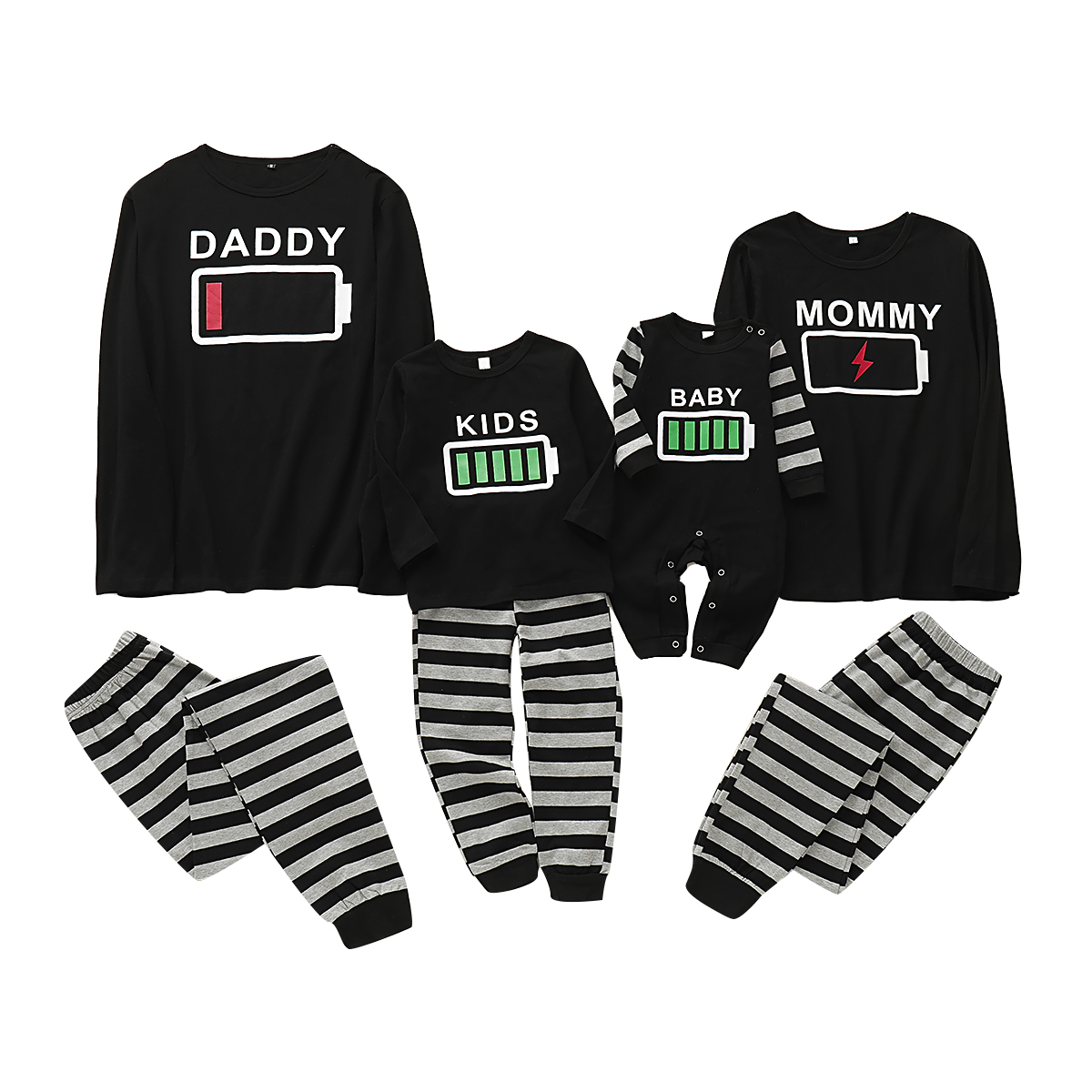 Puseky Family Pajamas Set Battery Print Nightwear Sleepwear Mommy And Me Clothes Daddy And Me Clothes Family Look