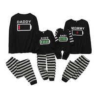 Puseky Familie Pyjamas Set Batterie Druck Nachtwäsche Nachtwäsche Mama und mich kleidung Papa und mir kleidung Familie Aussehen