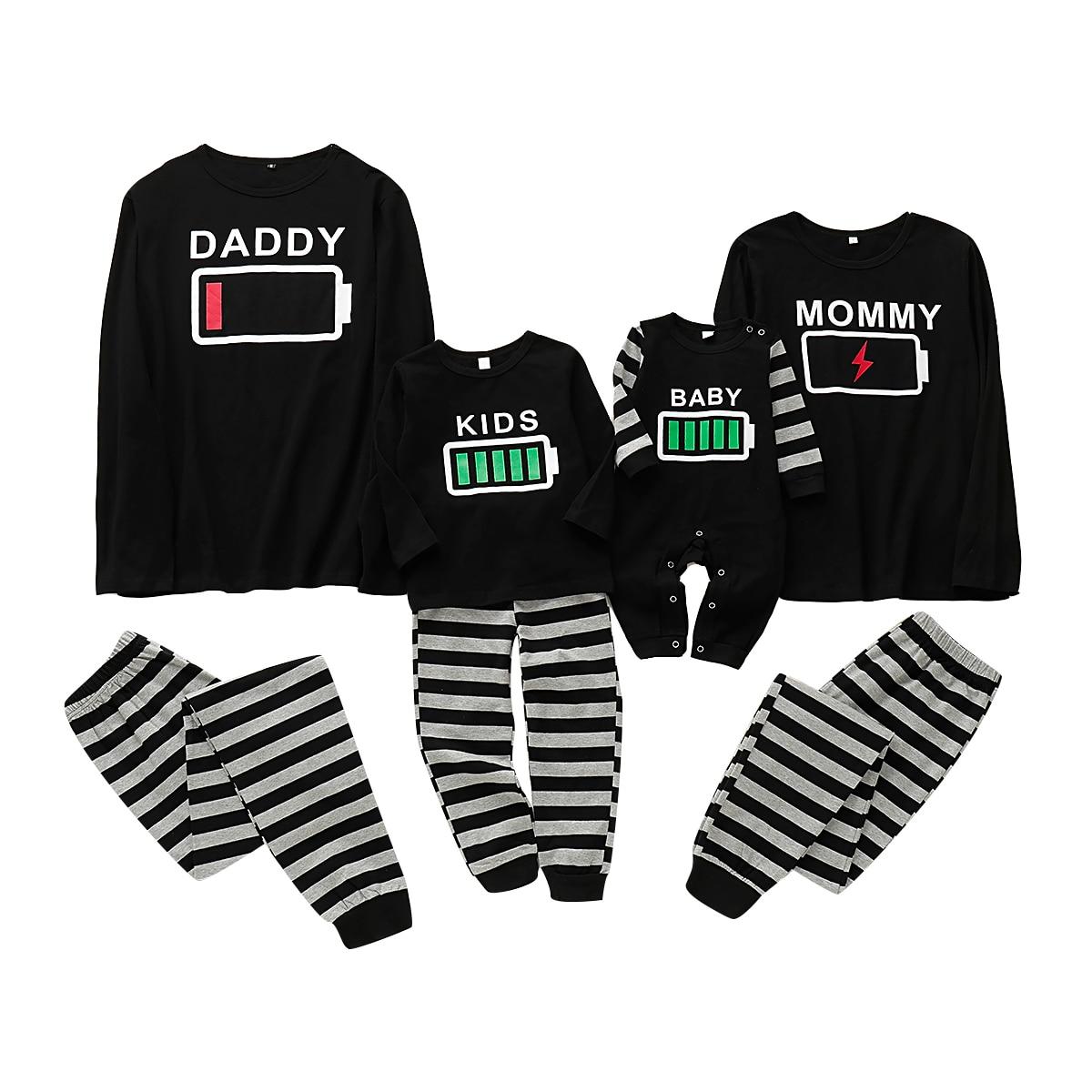 Puseky rodzinny zestaw piżam bateria drukuj bielizna nocna bielizna nocna ubrania mama i ja tata i ja ubrania wygląd rodziny