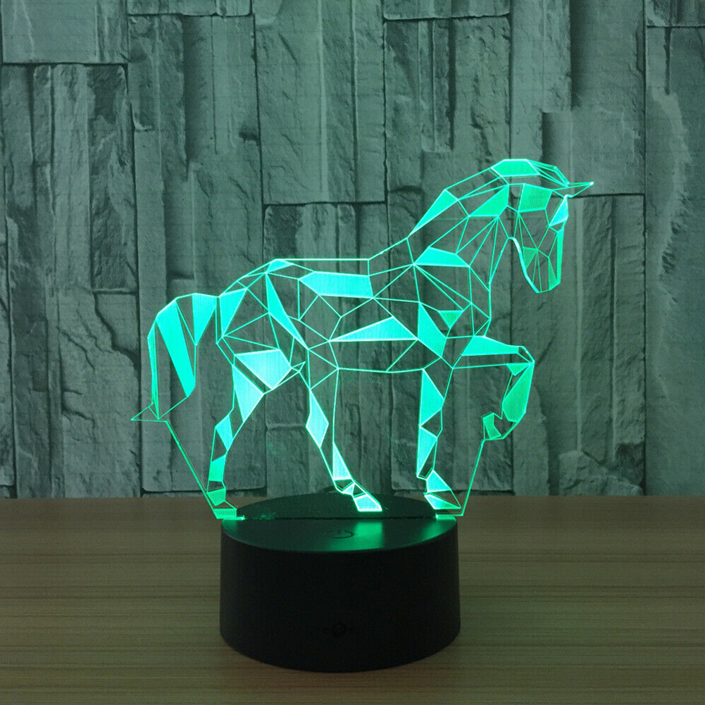 3D Horse Lamp Home Decor Bar Kids Desk 7 Colour Changing USB Cable Bedside Touch Button LED Visual Night Light Remote Control