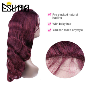 Image 2 - 99J Human Hair Wig Brazilian Straight Body Wave Lace Closure Wigs 4x4 Closure Wig Remy 100% Human Hair Wigs For Women