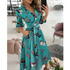 New Fashion Women Casual V Neck Long Dresses Chic Geo Pattern Graphic Print Pocket Design Wrap Dress 3