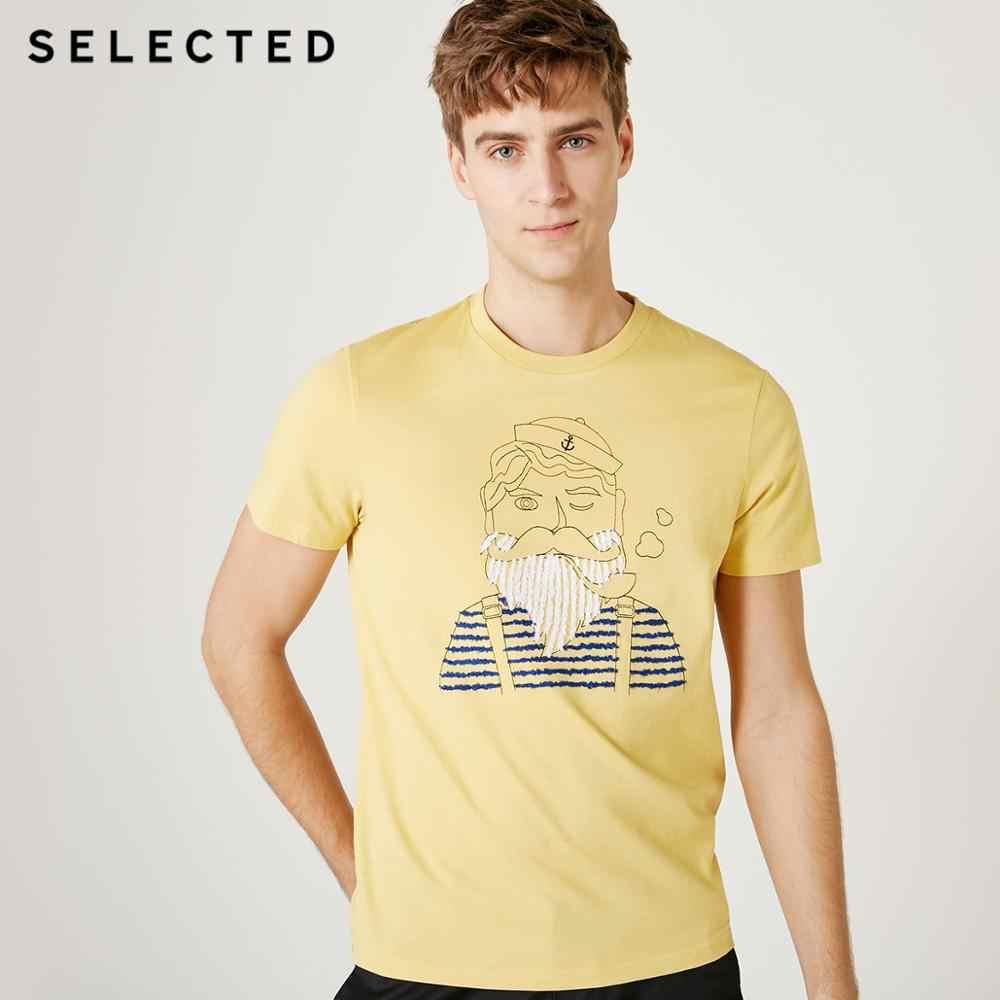 Geselecteerd Mannen Zomer 100% Katoen Borduurwerk Afdrukken Korte Mouwen T-shirt S | 419201501