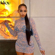 Kliou Mesh Fabric Finger Buckle Pattern Print Mini Dresses For Women See Through Skinny Elastic Bodycon Party Club Sexy Outfits