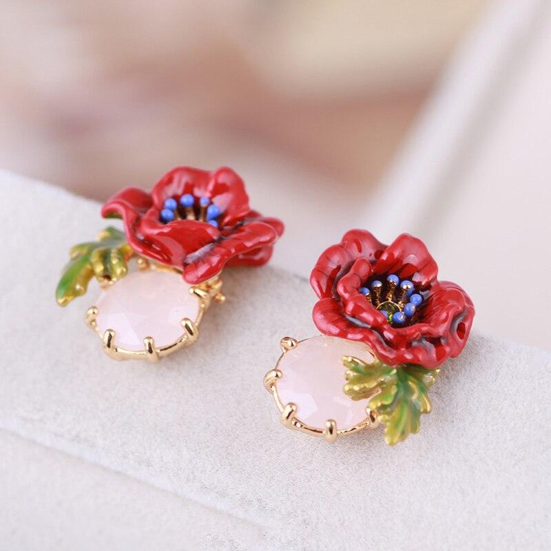 Bijoux en émail faits à la main rétro rouge pavot or boucle d'oreille délicate cristal pierre percé boucle d'oreille S925 argent Post boucles d'oreilles