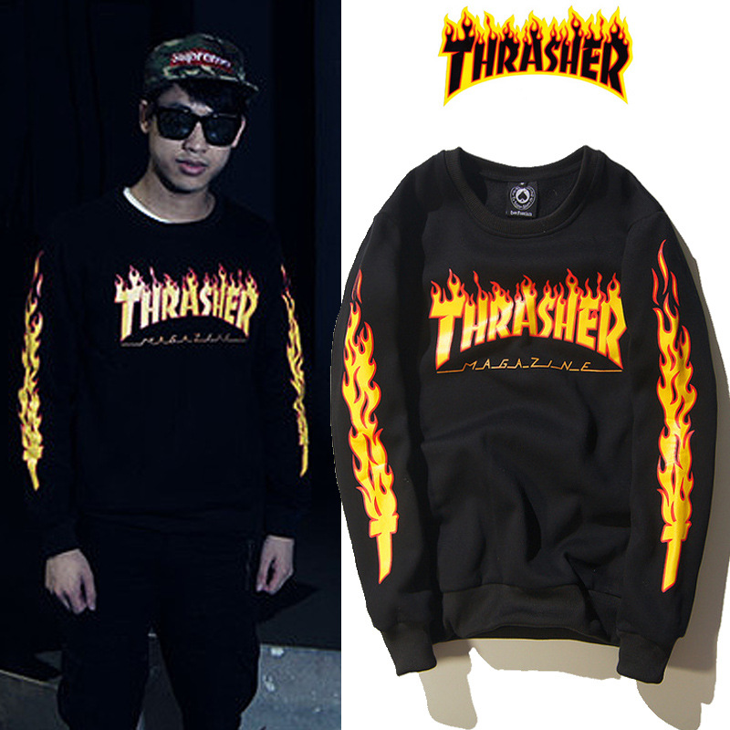 Popular Brand Fashion Clothing Star Celebrity Style American-Style Hip Hop Hip Hop Online Celebrity Thrasher Combustion Flame Pl