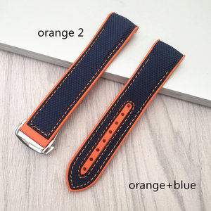Image 5 - MERJUST  20 22mm Wholesale Rubber Silicone With Nylon Replacement Watch Band Strap Belt For OMEGA Planet Ocean  blue black red