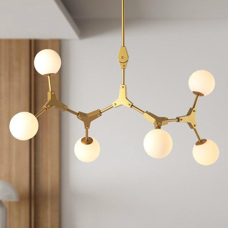 Modern Molecule Magic Bean Pendant Lights Living Room Nordic Golden Pendant Lamps Iron Art Restaurant Bar Kitchen Hanging Lamps