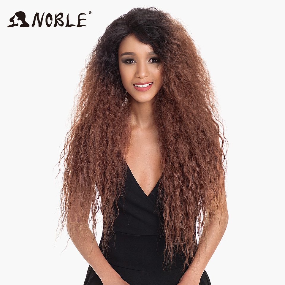 Noble Hair Synthetic Lace Front Wig Ombre Blonde Wig 30 Inch Long Kinky Curly Baby Hair Wig Synthetic Wigs For Black Women