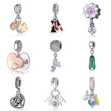 Silver Plated Bead Fit Lady Bracelets Floating Mouse Rabbit Magnolia Mum Dangle Charm DIY Jewelry(China)