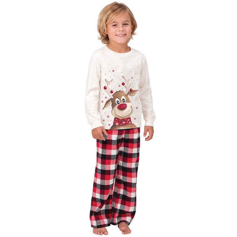 2019 inverno novo natal família pijamas combinando roupas natal veado impresso adultos pai mãe crianças família olhar conjunto