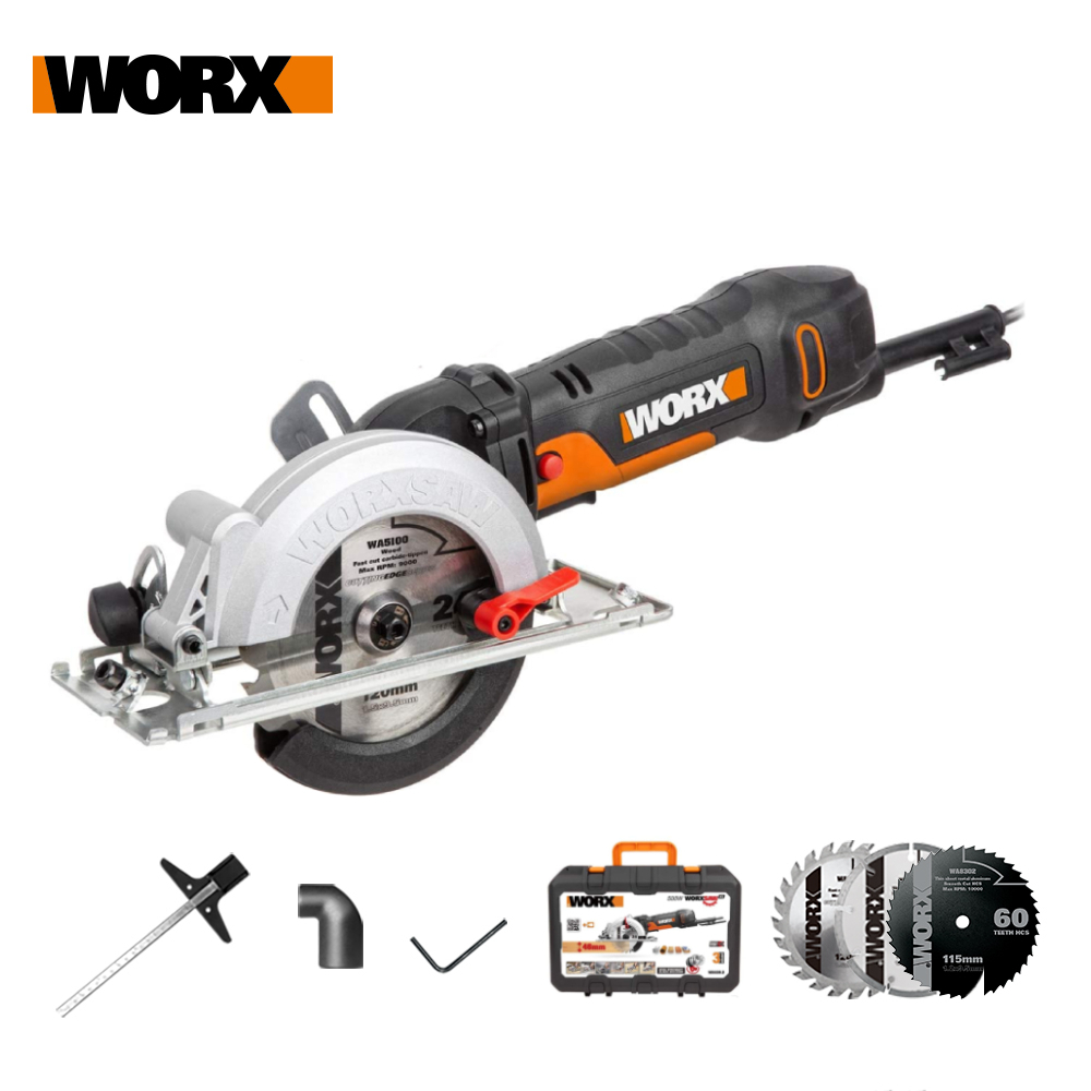 Worx 500W/120mm Electric Saw WX439 Circular Saw Household Power Tool+Injection Tool Box Lightweight Powerful base bevel 0-45 deg