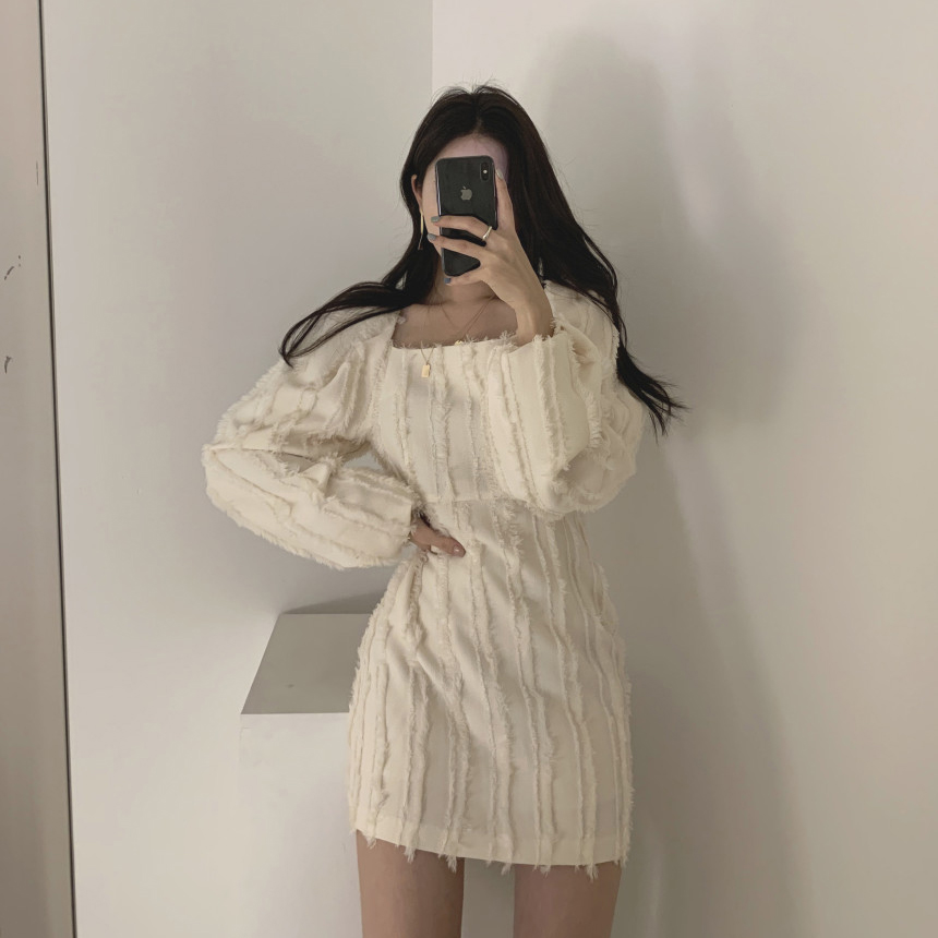 Ha4789ec94bb441c58d0654513de5180bC - Autumn Square Collar Puff Sleeves Tassel Solid Mini Dress