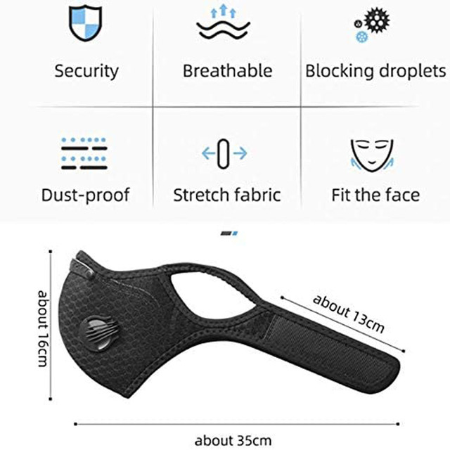 Valve Face Mask With 4 Filters Vent Breathable Respirator Fashion Mouth Cover Masque Bike Outdoor Reusable Protection Mascarilla 3