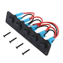 5 Gang 12V Rocker Switch for Car Marine Boat Circuit Breakers Overload Protected LED Light Rocker Switch Panel Circuit