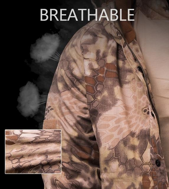 HAN WILD Outdoor Jackets Hiking Jacket Men Fleece Camouflage Hunting Clothes Men Tactical Military Uniform Windproof Windbreaker 4