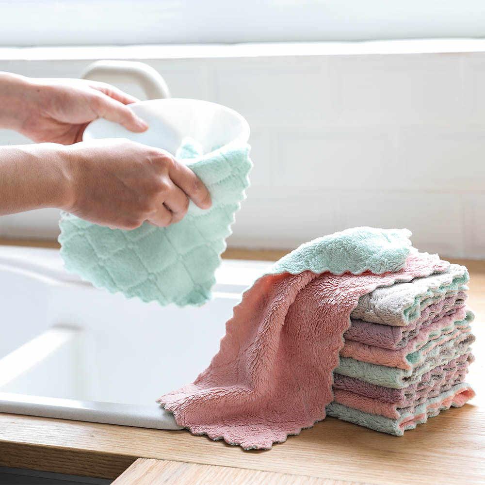 Superดูดซับน้ำมันNonstick Coralกำมะหยี่แขวนผ้าเช็ดตัวห้องครัวDishclout Ragผ้าขนหนูทำความสะอาดง่ายล้างผ้า