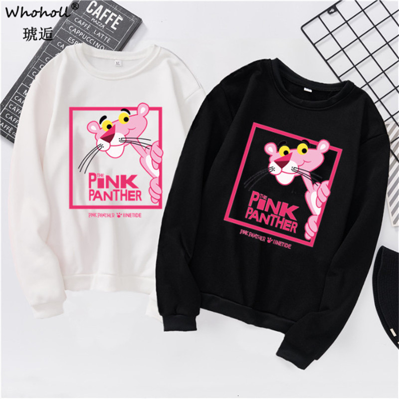 Pink Panther Hoodie Kawaii Cartoon Print Funny Women's Sweatshirt Spring Autumn Winter Graphic Hoody Korean Clothes Streetwear