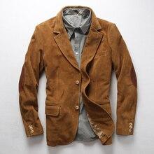 2019 جديد الرجال بليزرز الجلد المدبوغ جلد البقر سترة الموضة بدلة جلدية سترة شحن مجاني