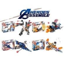4Pcs  Marvel Avengers 4 DC Super Heroes Spider Man Captain America Iron Model Set Building Blocks Toys For Children B567